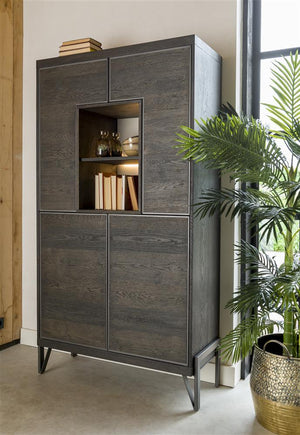 Habufa Montpellier Tall Display Storage Cabinet  in Smoked Charcoal Acacia Wood