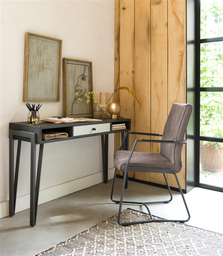 Habufa Montpellier Hall Table in Smoked Charcoal Oak Wood