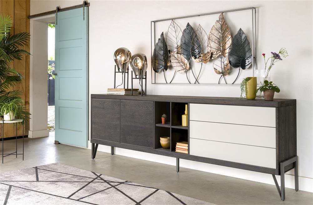 Habufa Montpellier Sideboards in Smoked Charcoal Acacia Wood