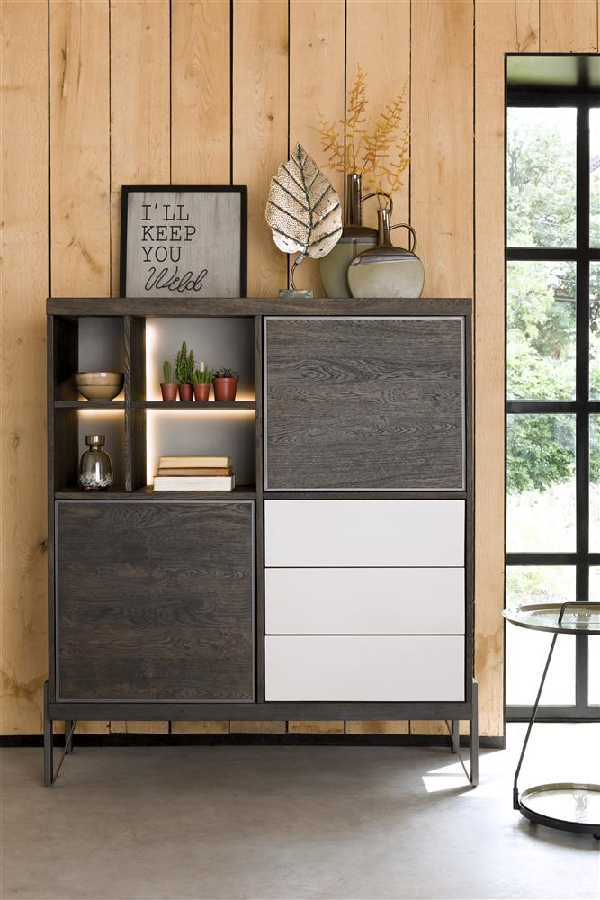 Habufa Montpellier Highboard in Smoked Charcoal Acacia Wood