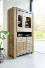 Habufa Santorini Glass Display Cabinet-display cabinet-Against The Grain Furniture-Against The Grain Furniture