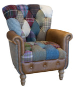 Harlequin Harris Tweed and Leather Patchwork Sofa and Chair.-harris tweed sofas-Against The Grain Furniture-Chair-Against The Grain Furniture