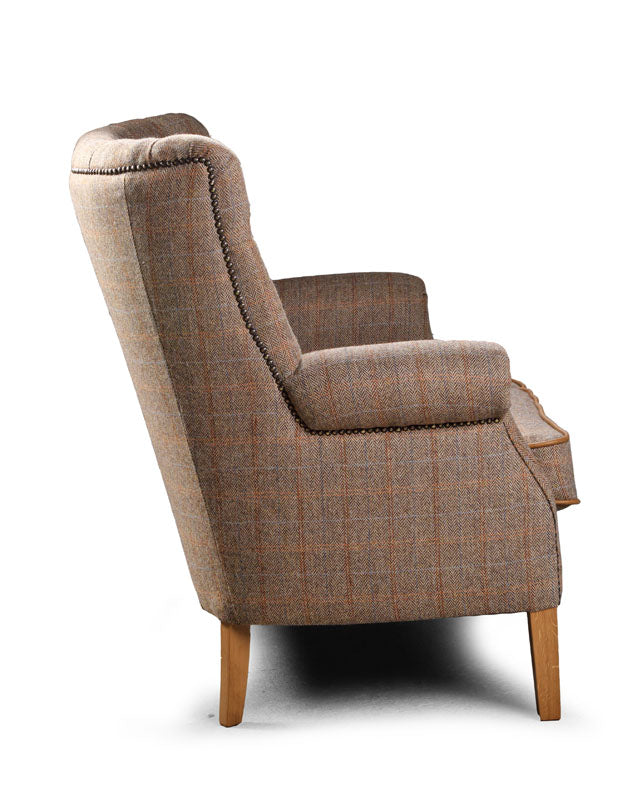 Hexham Harris Tweed and Leather Sofa and Chair.-harris tweed sofas-Against The Grain Furniture-Sofa-Against The Grain Furniture