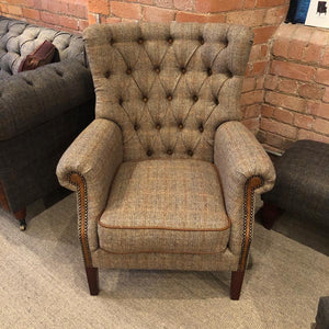 Hexham Harris Tweed and Leather Sofa and Chair, Hunters Lodge.