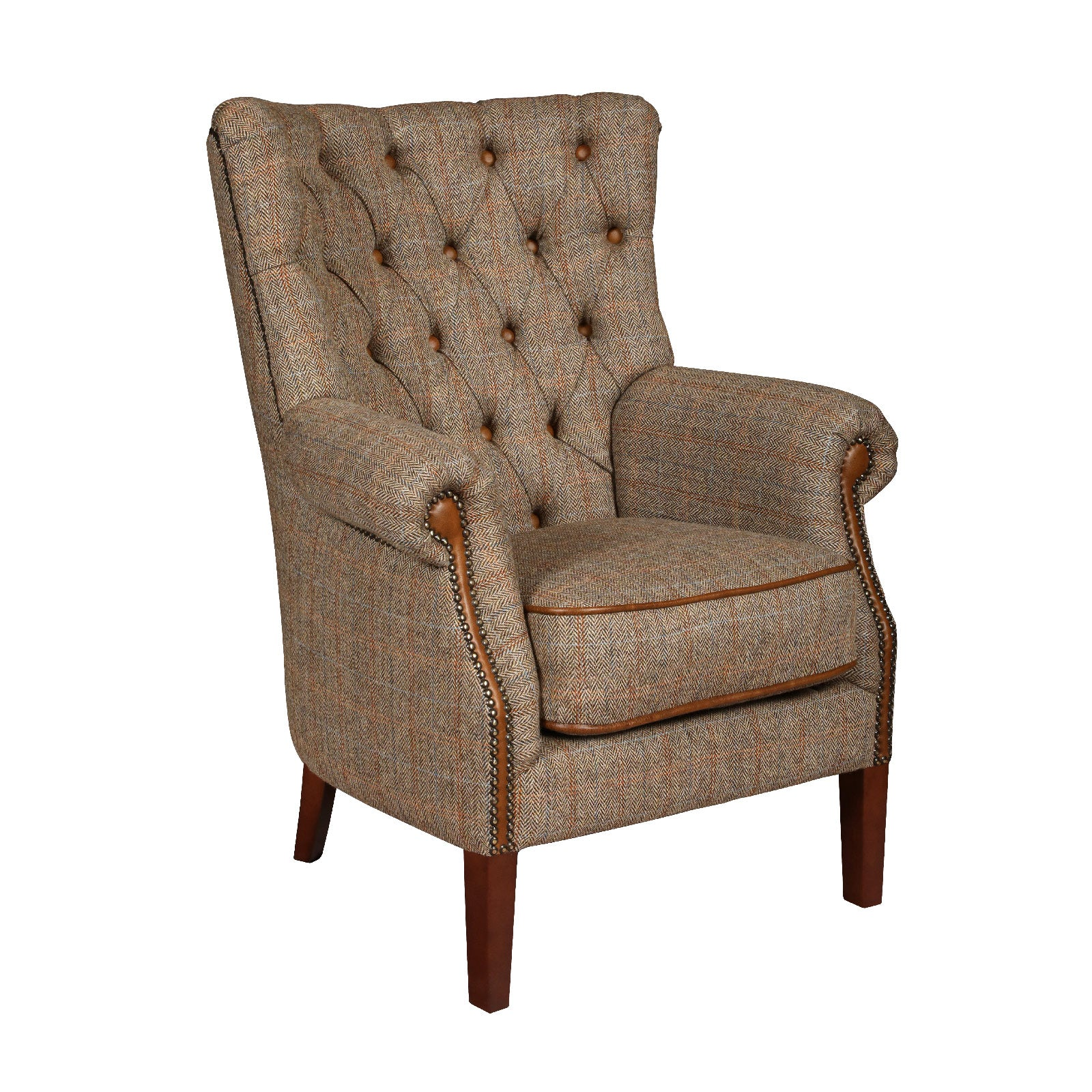 Hexham Harris Tweed and Leather Sofa and Chair.-harris tweed sofas-Against The Grain Furniture-Chair-Against The Grain Furniture