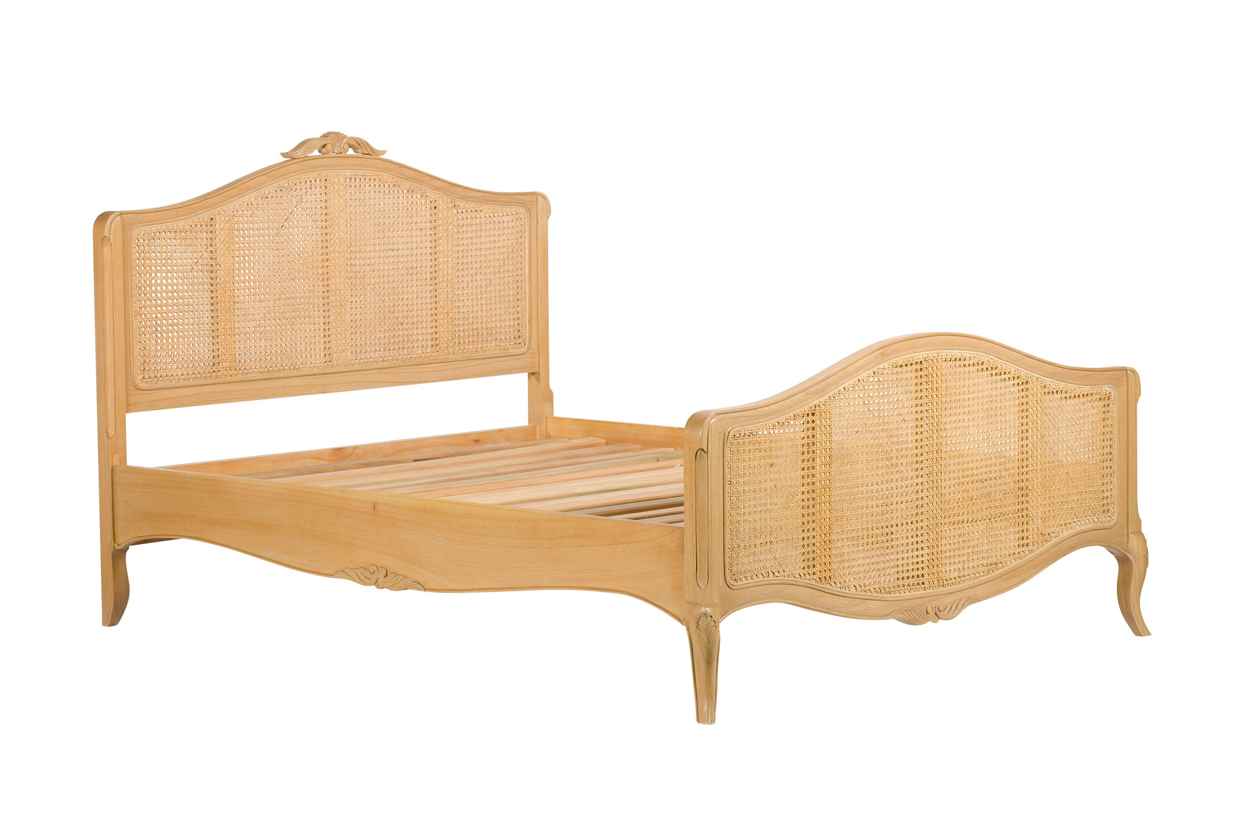 Limousin Bed Frames With Hand Woven Rattan-Bed frames-Baker Limoges-1.35 double-Against The Grain Furniture