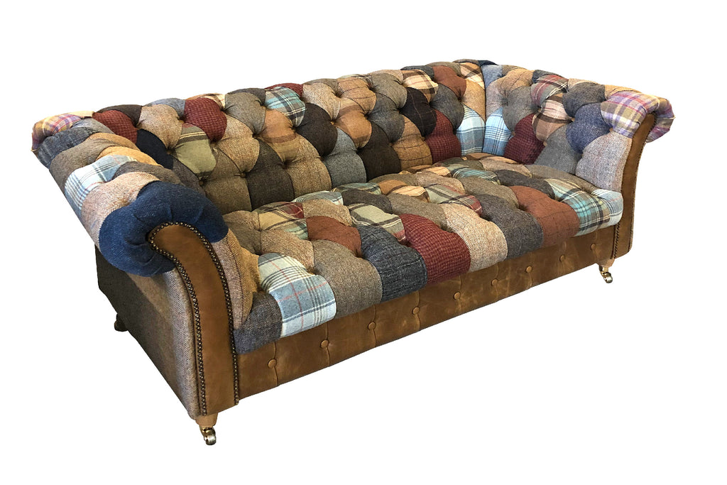Harlequin Harris Tweed and Leather Patchwork Sofa and Chair.