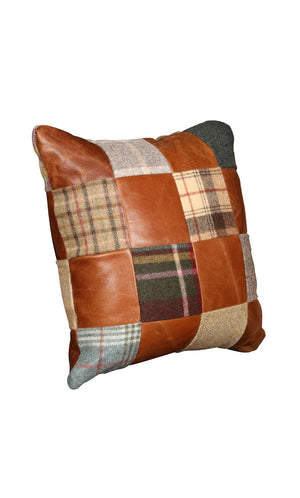Harris Tweed and Leather Cushions-harris tweed cushions-Against The Grain Furniture-Harris Tweed and Leather 40 cm square-Against The Grain Furniture