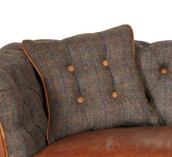 Harris Tweed and Leather Cushions-harris tweed cushions-Against The Grain Furniture-Piped and Buttoned 40 cm square-Against The Grain Furniture