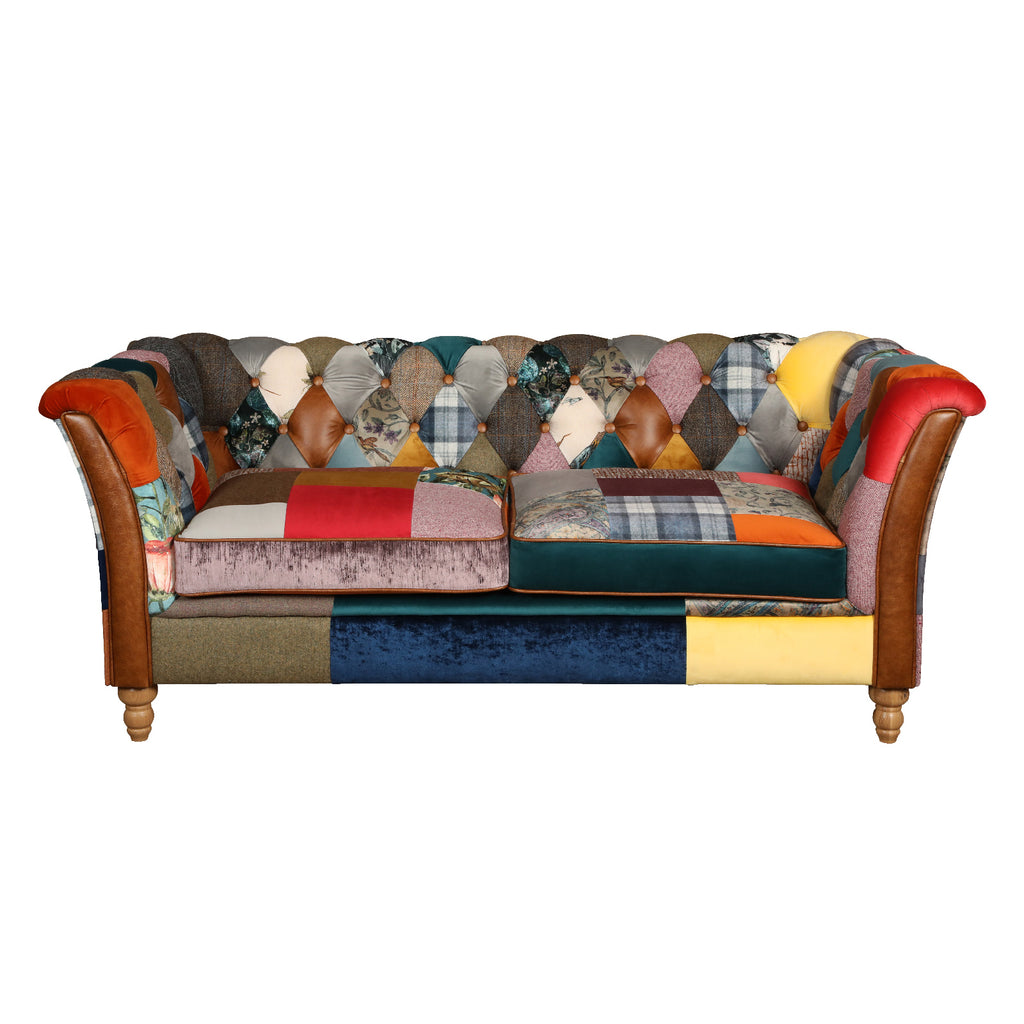 Rutland Patchwork Harris Tweed and Leather Sofas.-harris tweed sofas-Against The Grain Furniture-Against The Grain Furniture