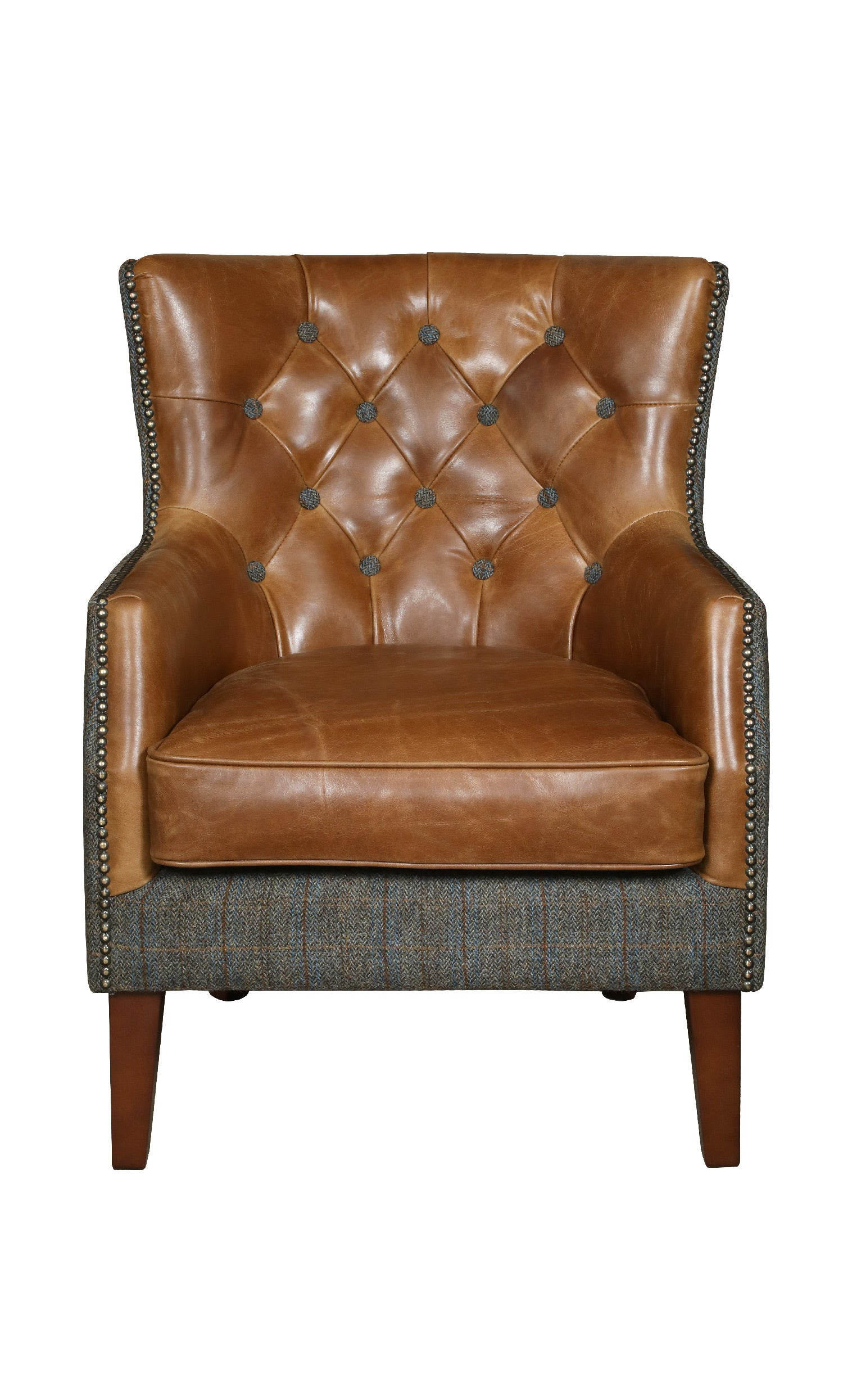 Stanford Harris Tweed and Leather Accent Chair.-harris tweed accent chairs-Against The Grain Furniture-Morland-Against The Grain Furniture