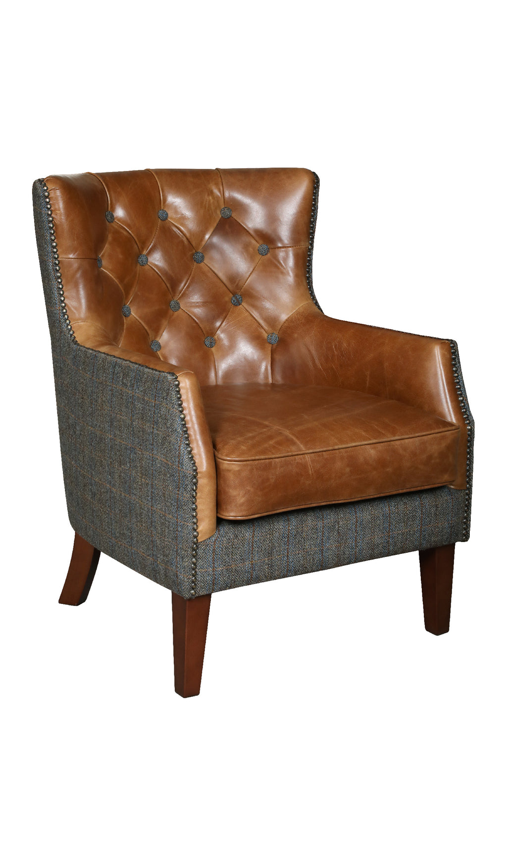 Stanford Harris Tweed and Leather Accent Chair.