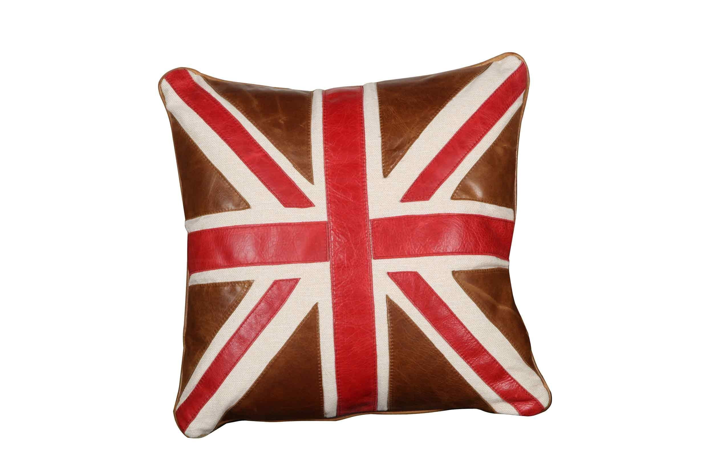 Harris Tweed and Leather Cushions-harris tweed cushions-Against The Grain Furniture-Leather Union Jack 40 cm square-Against The Grain Furniture