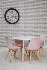 Urban Round Kitchen Dining Table and 4 Dining Chairs