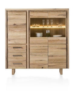 Masters Bespoke Highboard in Solid Oak-highboard cabinets-Against The Grain Furniture-Vintage White-Wooden Leg-Against The Grain Furniture
