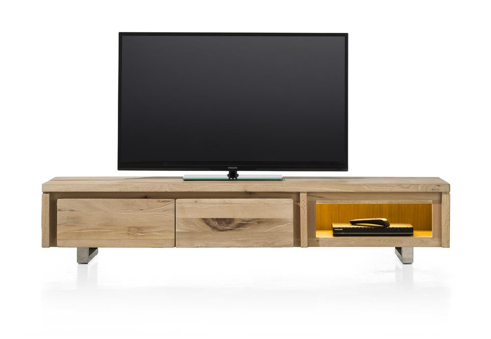 Masters Bespoke TV Media Stands in Solid Oak-Tv media stands-Against The Grain Furniture-180-Vintage White-Stainless Steel legs-Against The Grain Furniture