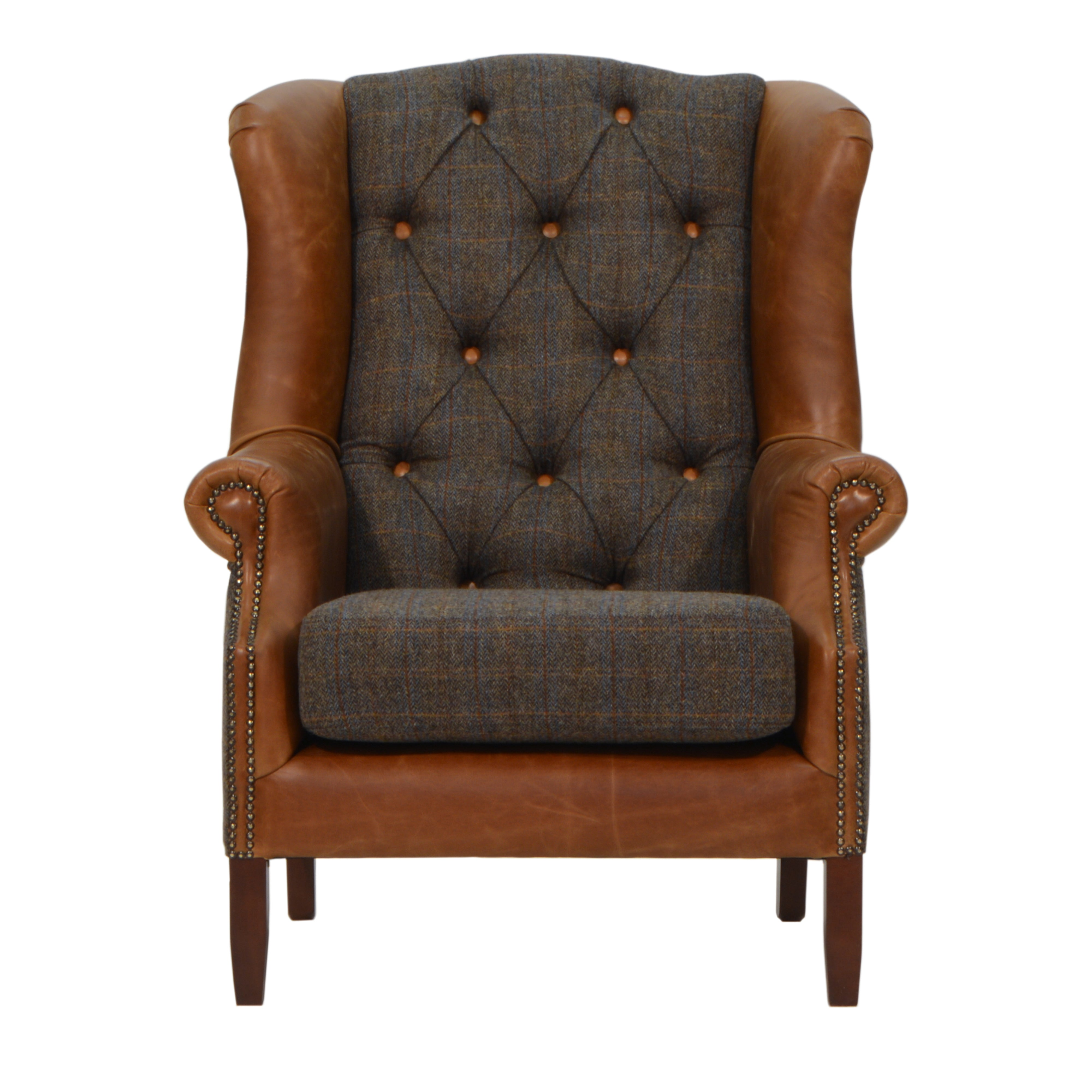 Wing Chair Harris Tweed and Leather .