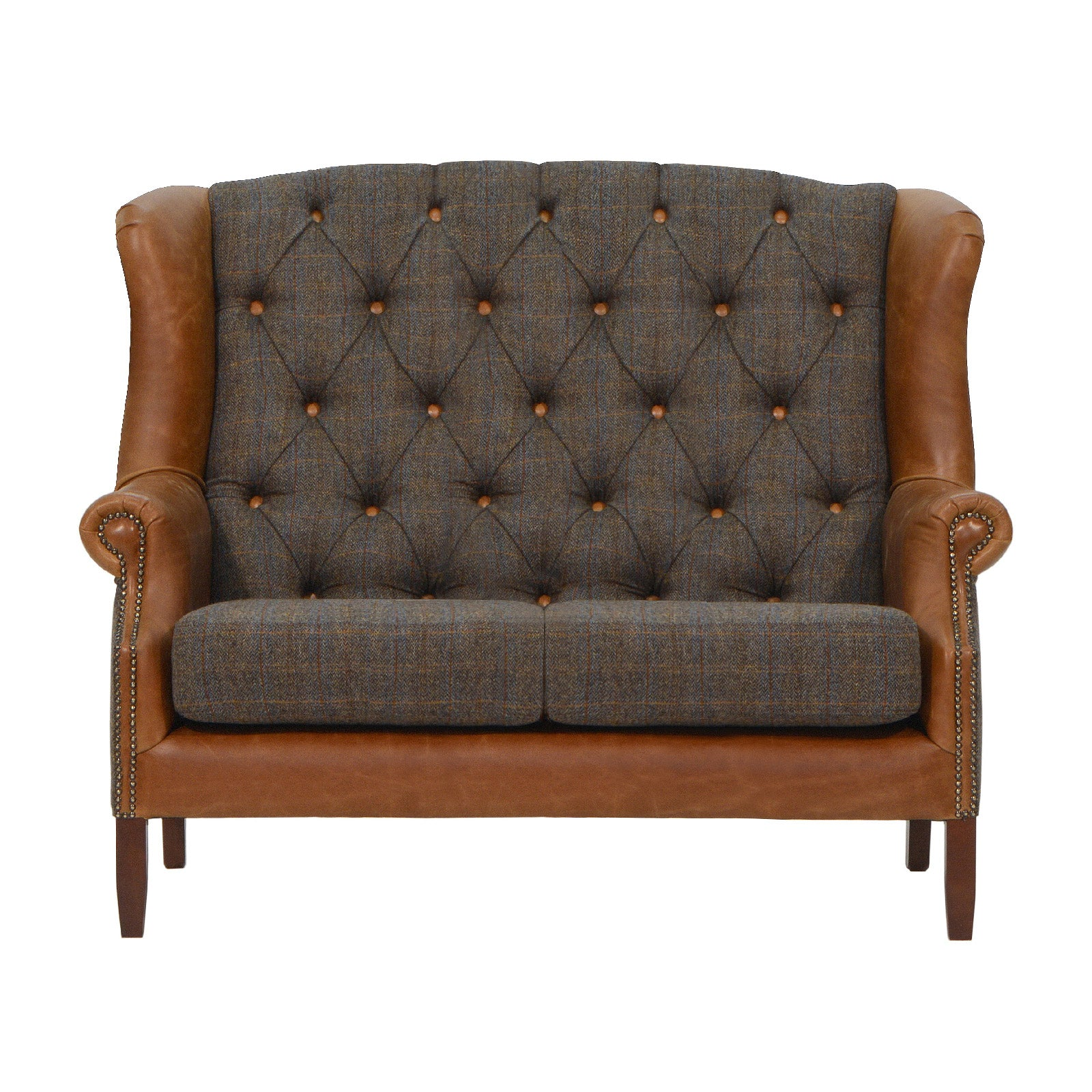 Wing 2 seater sofa Harris Tweed and Leather REDUCED TO CLEAR STOCK-harris tweed accent chairs-Against The Grain Furniture-Against The Grain Furniture