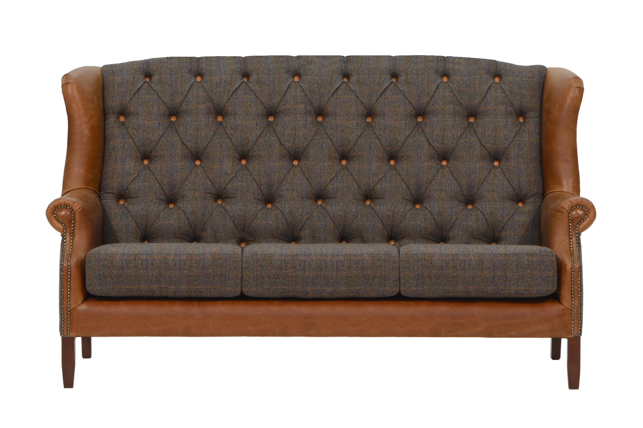Wing 3 Seater Sofa Harris Tweed and Leather REDUCED TO CLEAR STOCK-harris tweed accent chairs-Against The Grain Furniture-Against The Grain Furniture