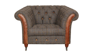 Chester Club Harris Tweed and Leather Sofas and Chair.-harris tweed sofas-Against The Grain Furniture-Chair-Against The Grain Furniture