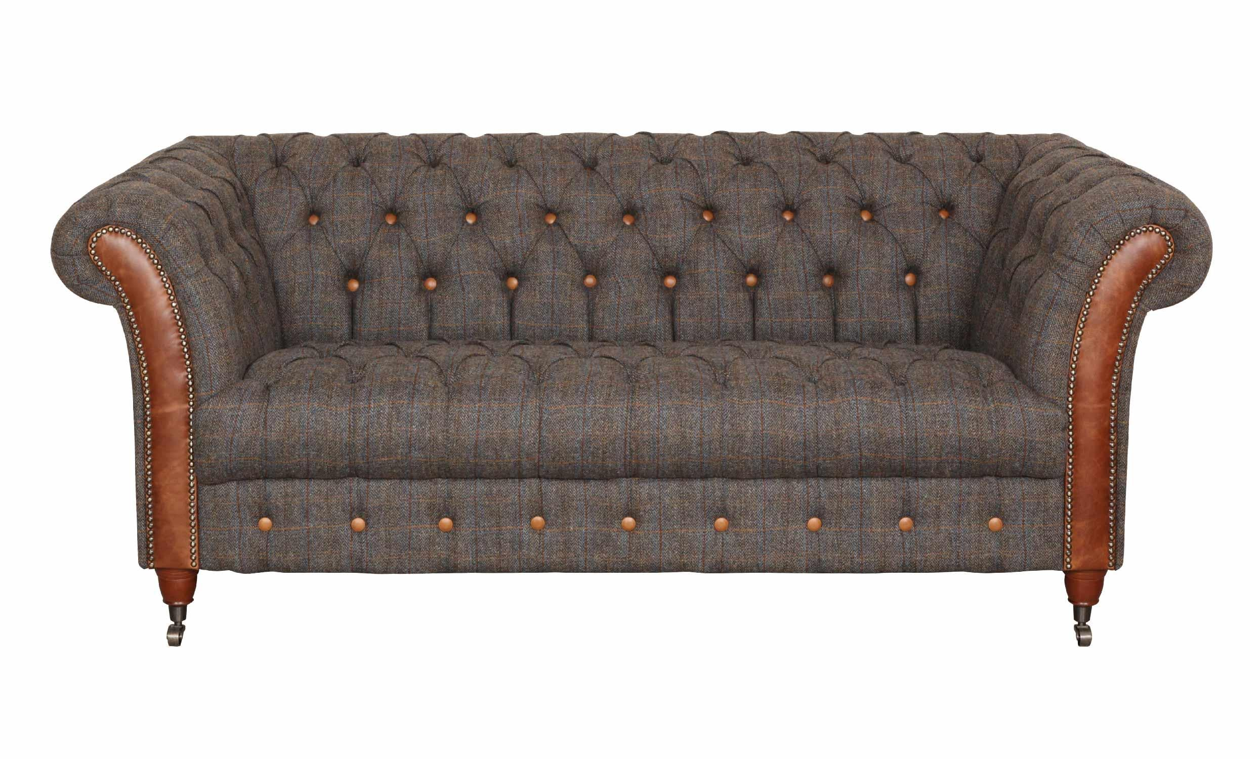Chester Club Harris Tweed and Leather Sofas and Chair.-harris tweed sofas-Against The Grain Furniture-2 Seater-Against The Grain Furniture