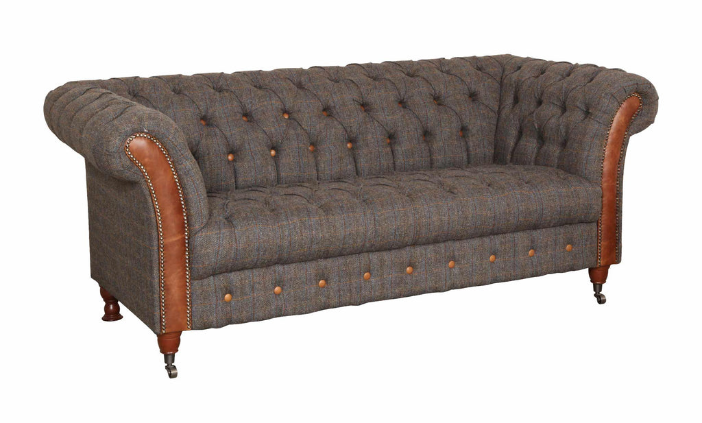 Chester Club Harris Tweed and Leather Sofas and Chair.-harris tweed sofas-Against The Grain Furniture-3 seater-Against The Grain Furniture