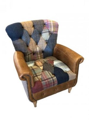 Gotham Harris Tweed and Leather Patchwork Chair.-harris tweed sofas-Against The Grain Furniture-Against The Grain Furniture