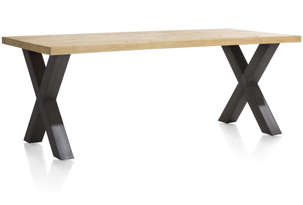 Habufa Metalox Fixed Top Oak Dining Tables-[Habufa Detroit]-[Furniture Village Detroit]-200 cms-X shape metal legs-Wavy edge-Against The Grain Furniture