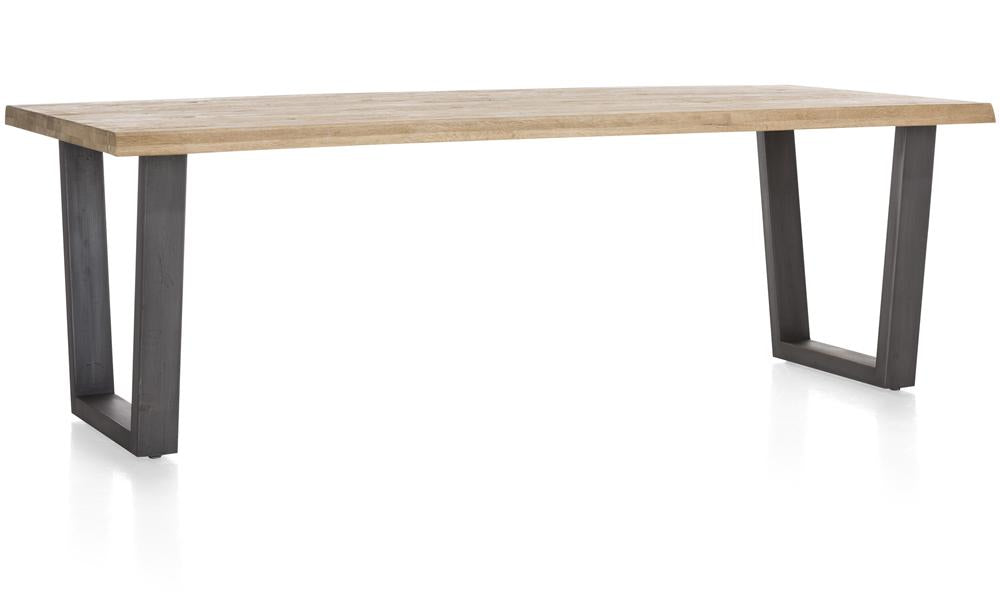 Habufa Metalox Fixed Top Oak Dining Tables-[Habufa Detroit]-[Furniture Village Detroit]-250 cms-U shape metal legs-Wavy edge-Against The Grain Furniture