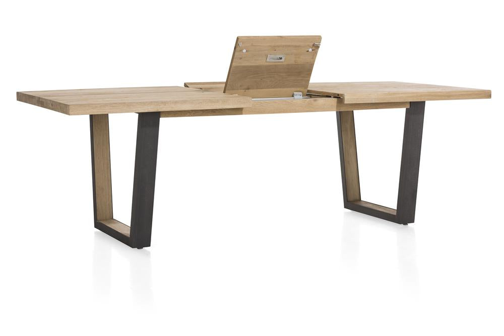 Habufa Metalox Extending Oak Dining Tables-[Habufa Detroit]-[Furniture Village Detroit]-160 cms EXT-U shape metal legs wood insert-Straight edge-Against The Grain Furniture