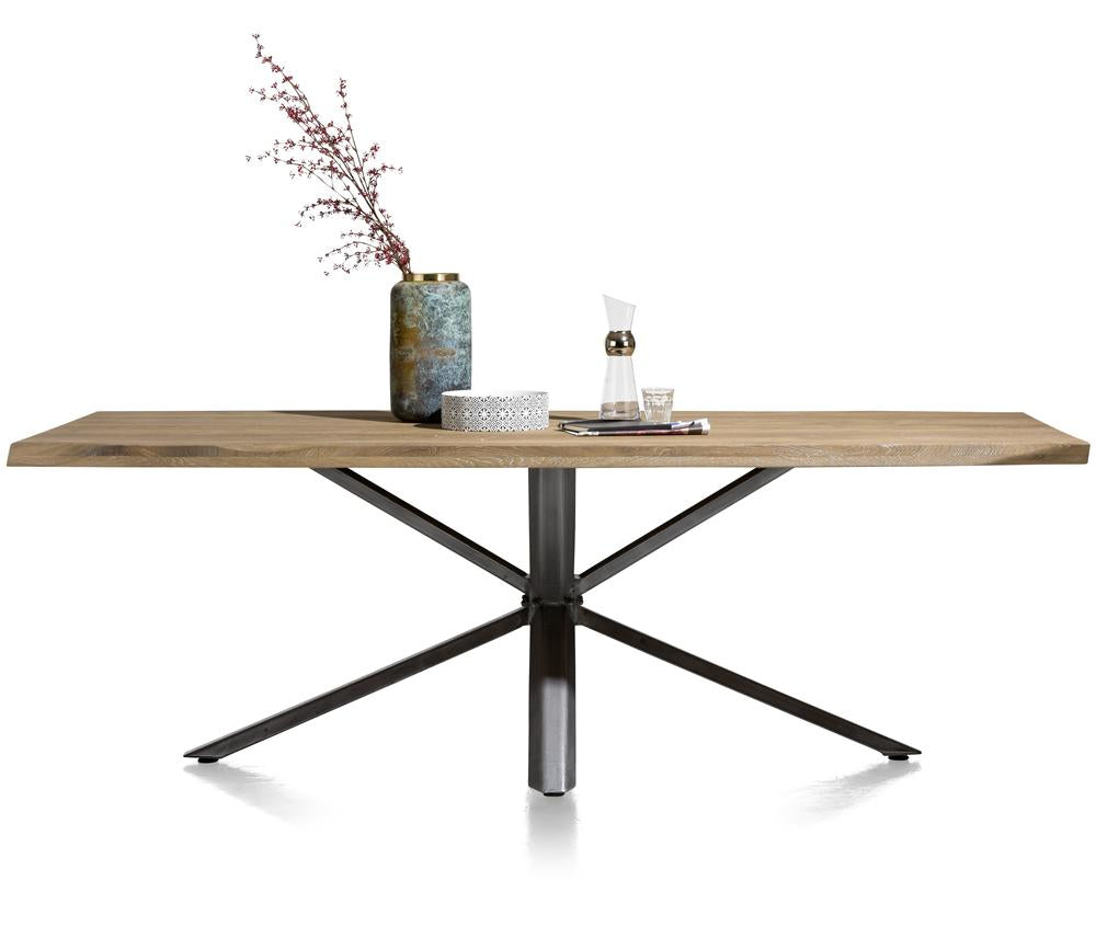 Habufa Vitoria Gun Metal and Oak Starburst Dining Table-Dining Tables-Against the Grain Furniture-170 x 100-Against The Grain Furniture