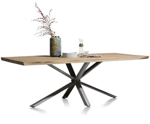 Habufa Vitoria Gun Metal and Oak Starburst Dining Table-[Habufa Philadelphia]-[Furniture Village Philadelphia]-200 x 100-Against The Grain Furniture