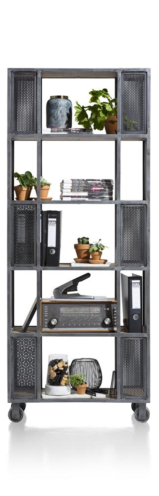 Habufa Vitoria Gun Metal and Oak Room Divider-Bookcases-Against the Grain Furniture-Bookcase/Room Divider-Against The Grain Furniture