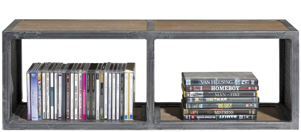 Habufa Vitoria Gun Metal and Oak Side Shelf Unit