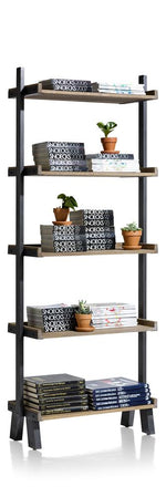 Habufa Vitoria Gun Metal and Oak Bookcase-Bookcases-Against the Grain Furniture-5 shelf bookcase-Against The Grain Furniture