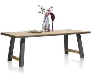 Habufa Farmer and Farmland Oak and Metal Tables.-Dining and bar Tables-Habufa Baltimore-210cm-Against The Grain Furniture