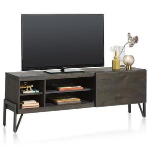 Habufa Montpellier Lowboard TV Media Units in Smoked Charcoal Oak Wood