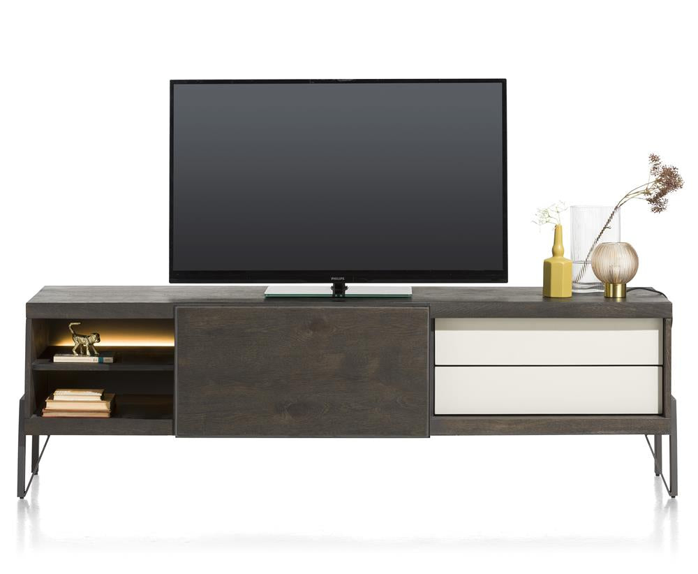Habufa Montpellier Lowboard TV Media Units in Smoked Charcoal Acacia Wood