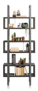 Habufa Montpellier Bookcase in Smoked Charcoal Acacia Wood