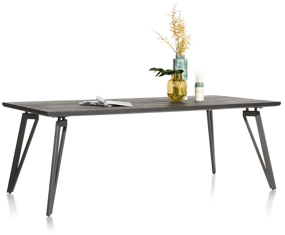 Habufa Montpellier Dining Tables in Smoked Charcoal Oak Wood