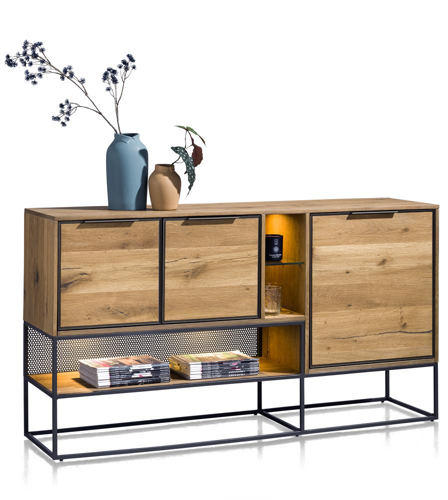 Habufa City Sideboards in Oak and Metal-sideboards-Against the Grain Furniture-[Habufa Detroit]-[Furniture Village Detroit]-[Urban furniture]-Against The Grain Furniture