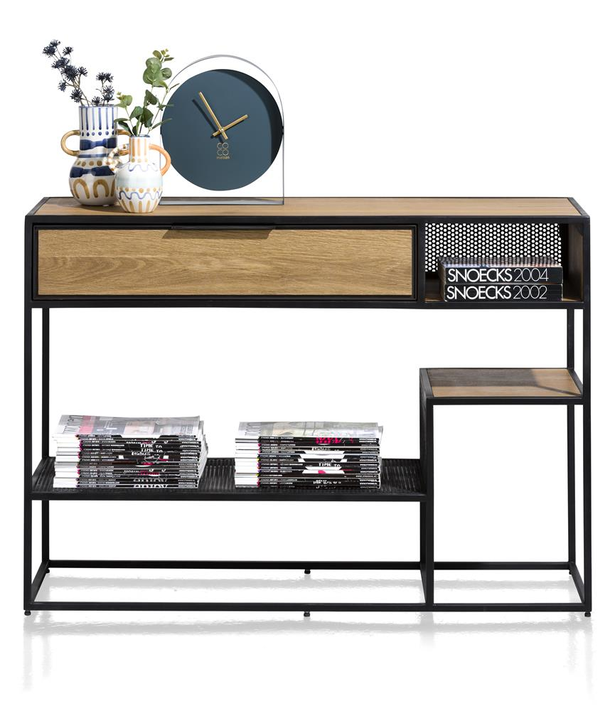 Habufa City Console Table in Oak and Metal-home office desk-Against the Grain Furniture-[Habufa Detroit]-[Furniture Village Detroit]-[Urban furniture]-Against The Grain Furniture