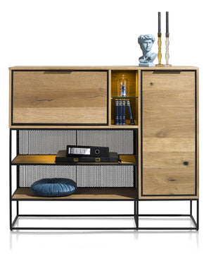 Habufa City Dressette in Oak and Metal-home office desk-Against the Grain Furniture-[Habufa Detroit]-[Furniture Village Detroit]-[Urban furniture]-Against The Grain Furniture