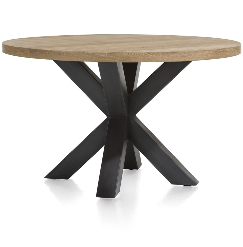 Habufa Metalox Starburst Round Dining Tables-[Habufa Detroit]-[Furniture Village Detroit]-130 Round, Plain Metal Leg-Against The Grain Furniture