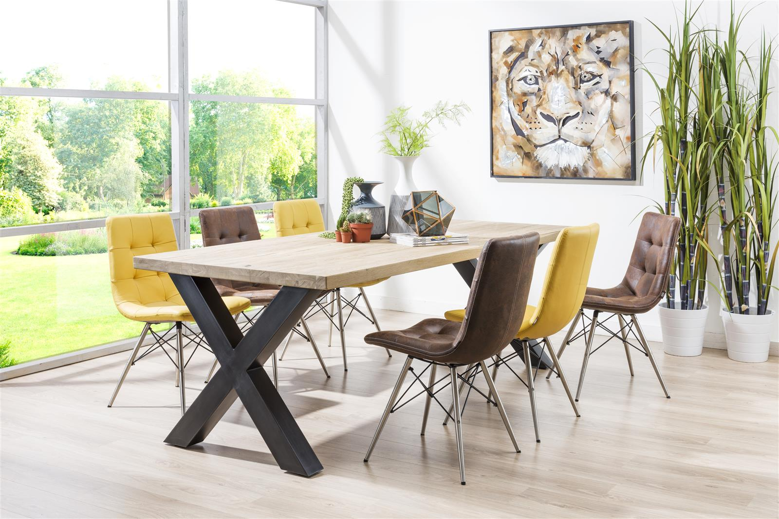 Habufa Metalox Fixed Top Oak Dining Tables