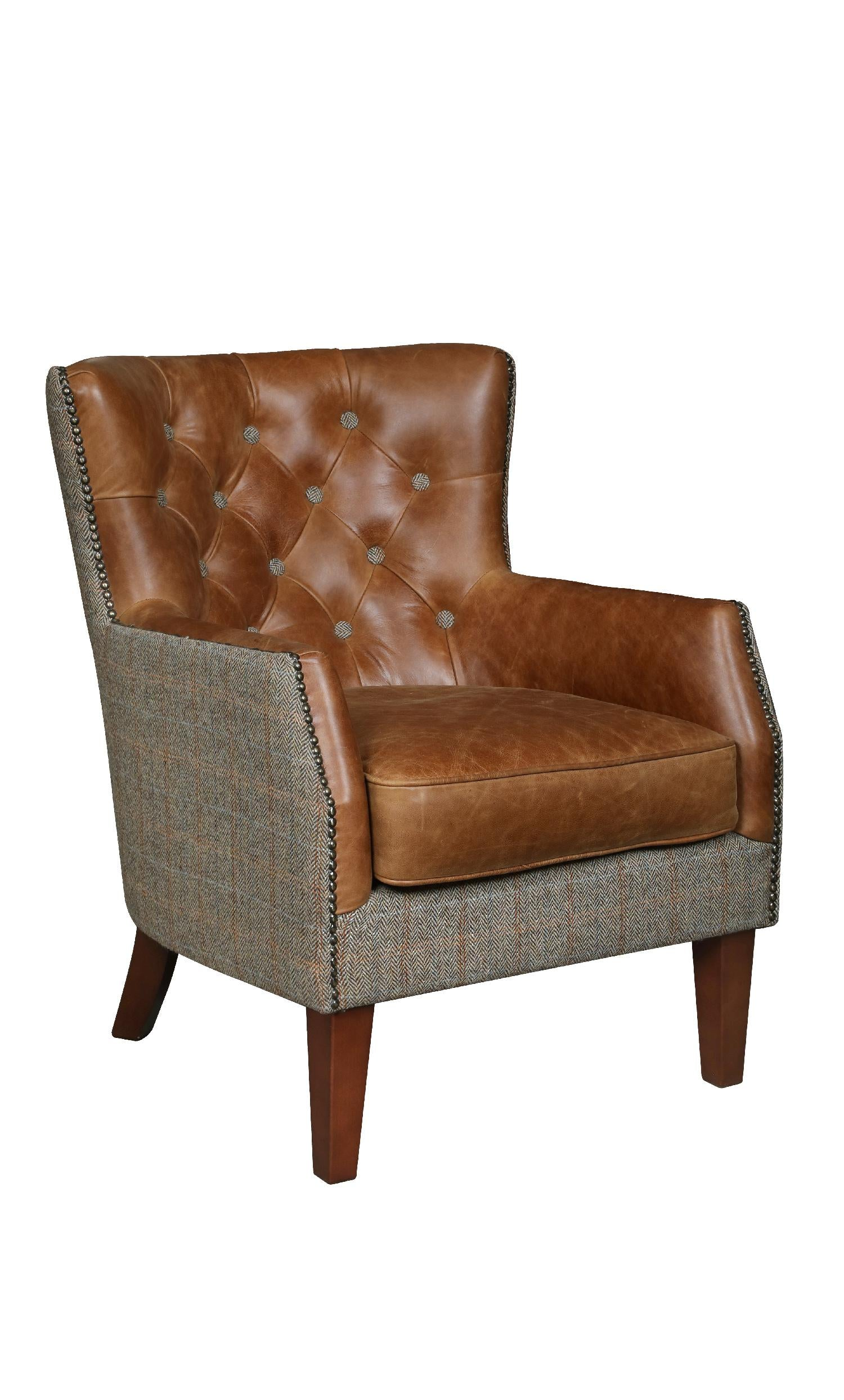 Stanford Harris Tweed and Leather Accent Chair.-harris tweed accent chairs-Against The Grain Furniture-Hunters Lodge-Against The Grain Furniture