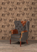 Kensington Harris Tweed and Leather Accent Chair.-harris tweed accent chairs-Against The Grain Furniture-Chair-Against The Grain Furniture