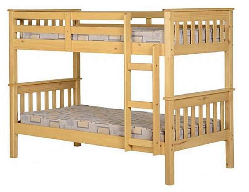 White or Pine Bunk Bed Set