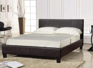Ottoman Bed Frame in Dark Brown Faux Leather In 4 Sizes