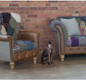 Harlequin Harris Tweed and Leather Patchwork Sofa and Chair.-harris tweed sofas-Against The Grain Furniture-Sofa-Against The Grain Furniture